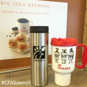 Buy these mugs at Chick-fil-A on Sawmill to use for the Free Coffee February offer.