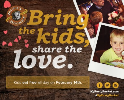 Kids Eat Free Valentines Day at the Rusty Bucket