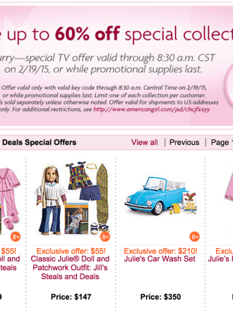 American Girl Doll Deal from Today Show Jill's Steals and Deals.