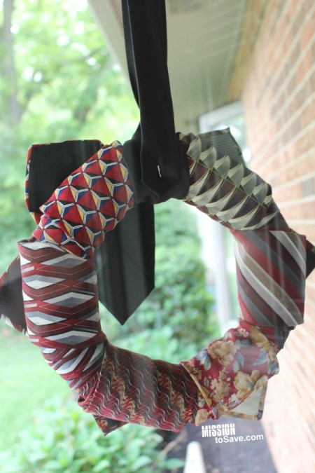 Repurposed Neckties Wreath (back)