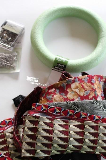 repurposed Neckties Wreath supplies
