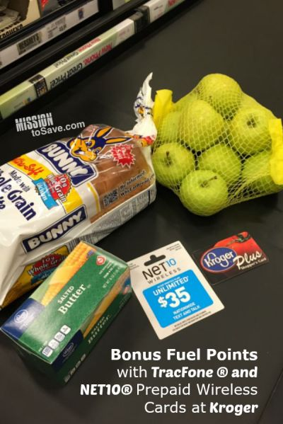 Get Bonus Fuel Points with TracFone ® and NET10® Prepaid Wireless Cards at Kroger.  |ad|