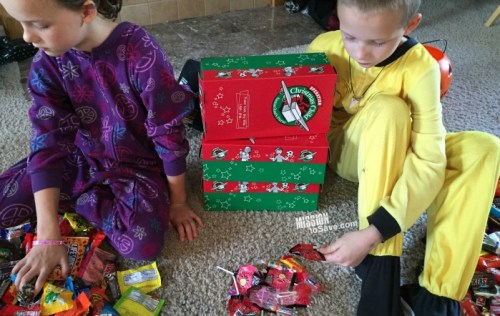 Use Halloween Candy in Shoeboxes for OCC