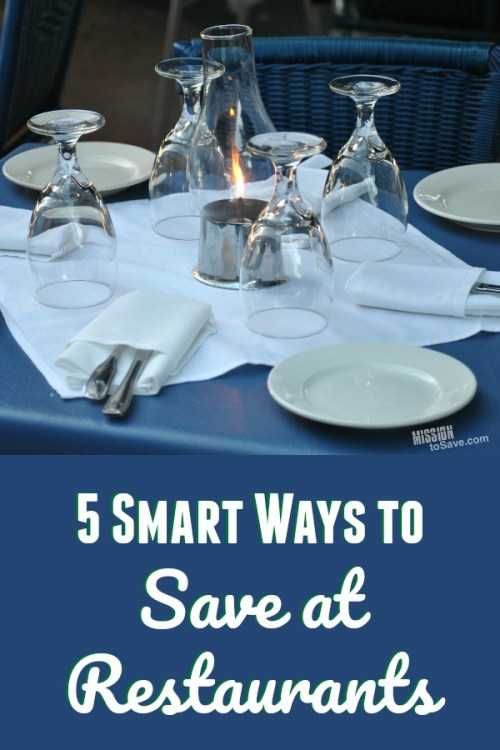 restaurant table with dishes. text: 5 Smart Ways to Save at Restaurants