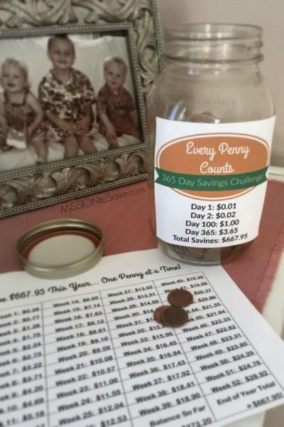 365 Penny Challenge savings jar