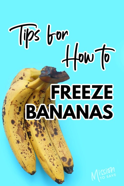 ripe bananas with text tips for how to freeze bananas