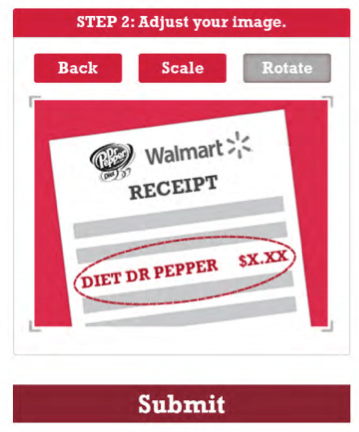 upload diet dr pepper receipt