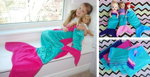 mermaid tail for girl and matching doll