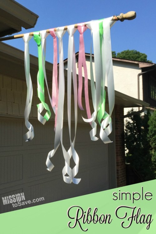 Decorating for celebrations doesn't have to be complicated. One of my favorite party decorations is really very, easy.  See this Simple Ribbon Flag tutorial.