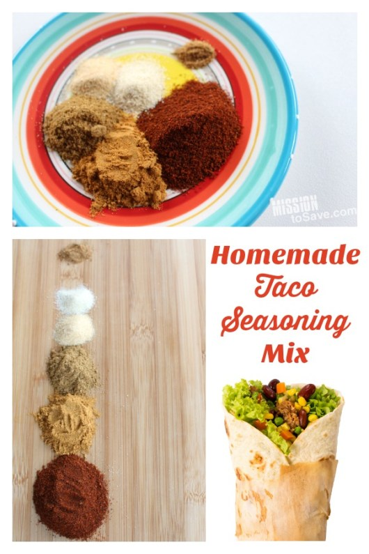 seasonings on a plate to make homemade taco seasoning mix