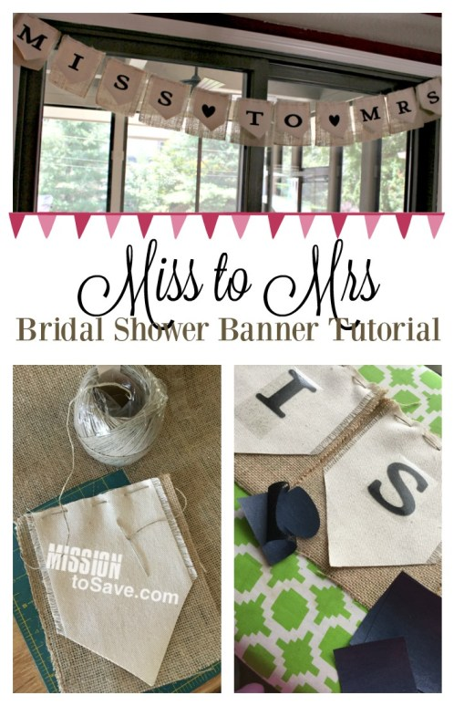 Throwing a wedding shower? See my Miss to Mrs banner tutorial for the perfect bridal shower decoration.