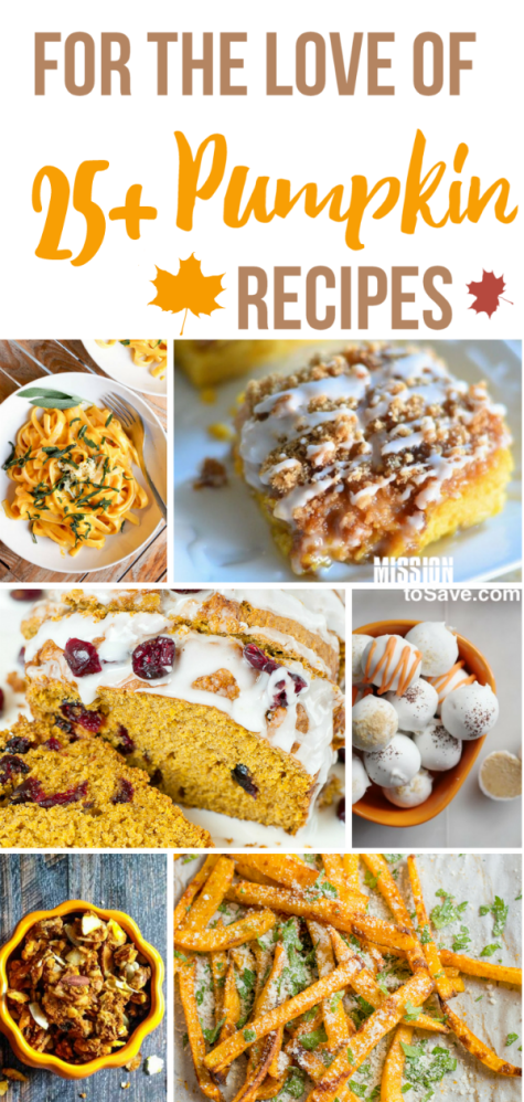 Expand your options past pumpkin pie or the ever popular pumpkin spice latte. Check out this list of over 25 mouthwatering, deliciously pumpkin recipes. Perfect fall food!
