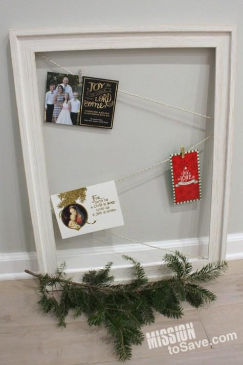 Use those Christmas cards in your holiday decor. See this simple greeting card display idea. And it can be swapped out for the next season's decoration too.