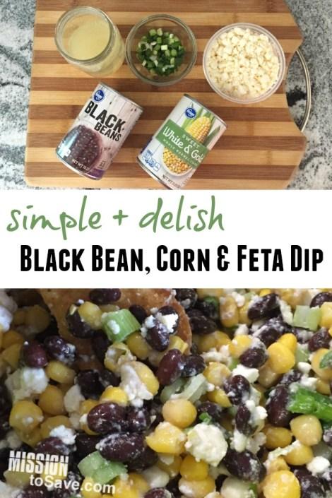 Black Bean corn and feta dip recipe
