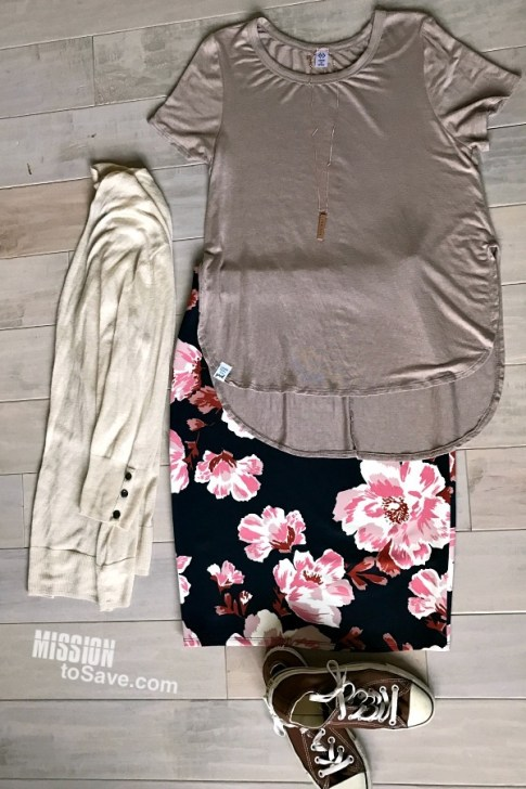 Floral skirts are a hot new fashion trend. See how to style a floral skirt for all 4 seasons! This is the spring outfit, complete with casual Chucks and a cardi layer for unpredictable spring weather.