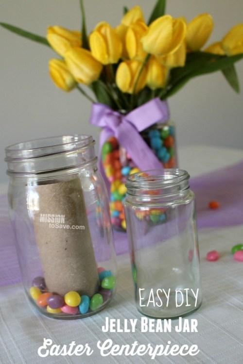 Assembling jelly beans in jars to make flower holder vase for table centerpiece