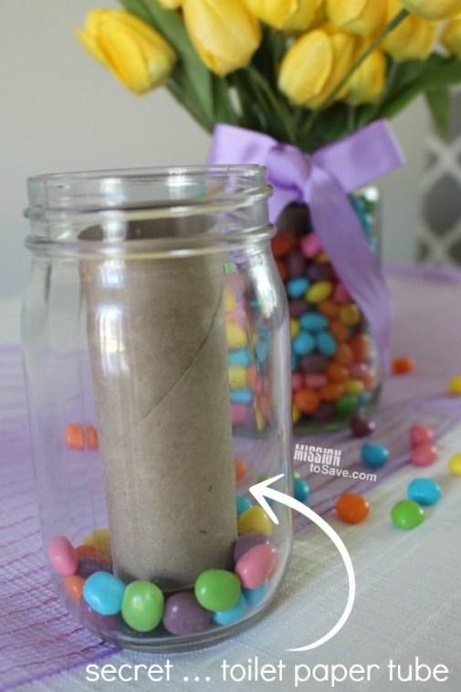 making jelly bean jar flower holder with toilet paper tube