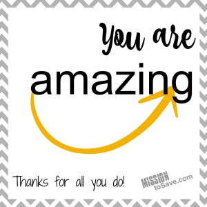 """You are Amazing"" Amazon Gift Card Printable - Perfect for Teacher Gifts. Use these Free Printable gift tags to make giving Amazon gift cards cute and easy! Also great for coaches and coworker appreciation."