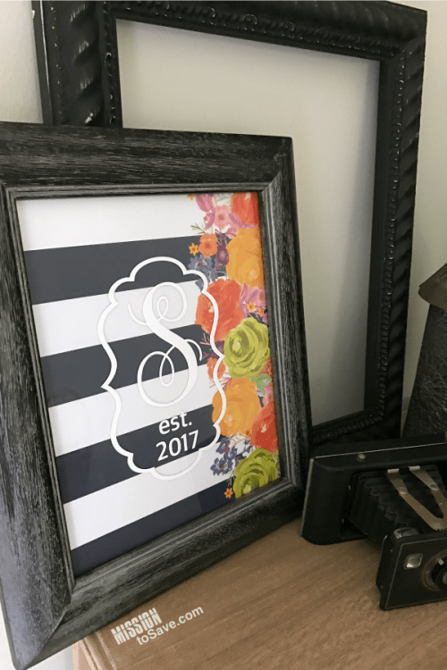 Create this Multi Season Monogrammed Frame using Cricut Vinyl. It makes a great bridal shower or wedding gift. A unique and personalized DIY gift idea.