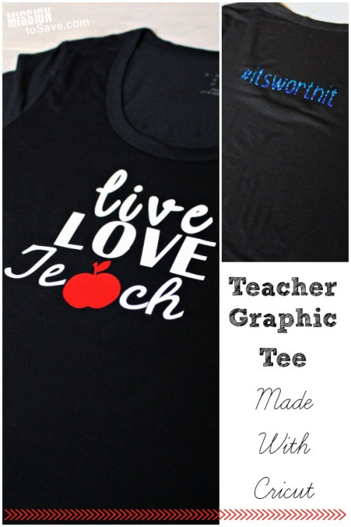 Teacher's #1 Christmas wish list item is gift cards. But why not Make a Teacher Graphic Tee with Cricut too. It's the perfect addition to the gift cards for a personalized touch for teacher who go above and beyond!