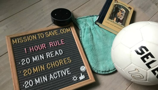 letter board with summer rules book ball dusting mitt and echo dot
