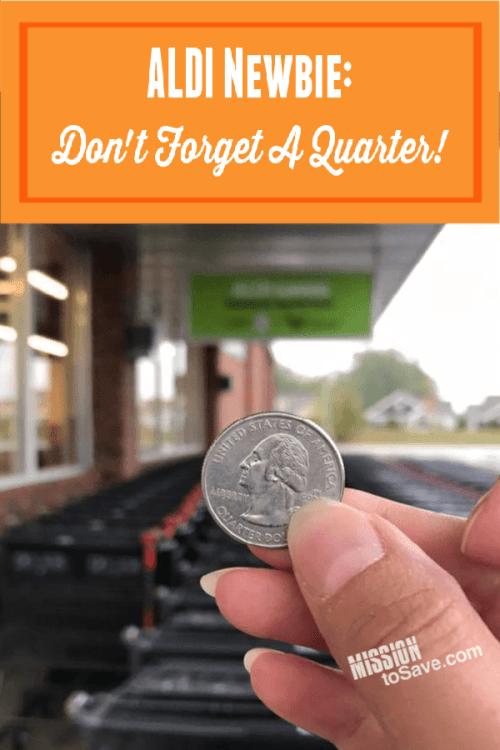 Aldi grocery cart quarter