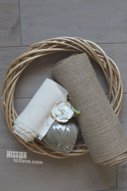 Supplies for shabby chic home decor with burlap and willow wreath