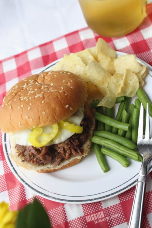 shredded Italian Beef Sandwich