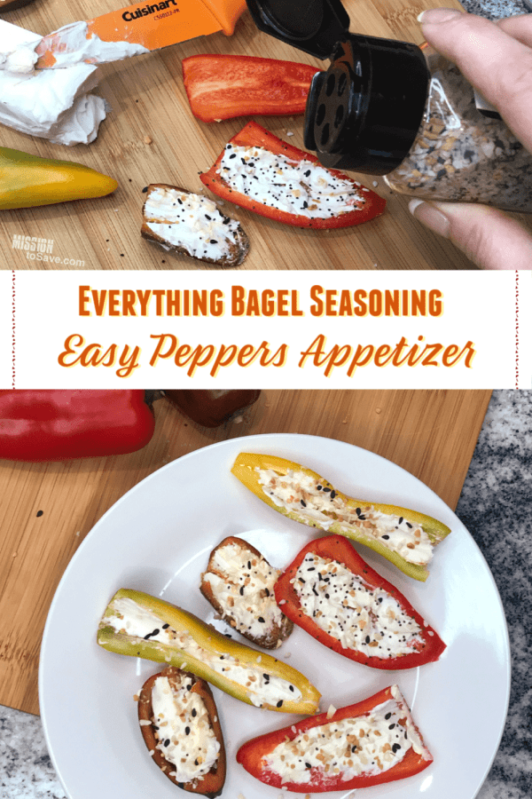 mini peppers appetizer with everything bagel seasoning