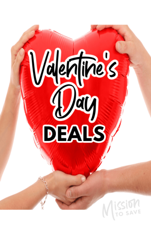 heart balloon with text Valentine's Day Deals