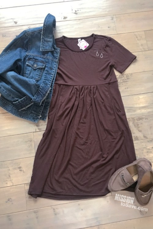 Brown Dress Outfit flatlay from Nadine West