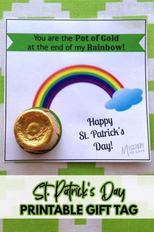gold candy as pot pf gold on st. patrick's day printable gift tag