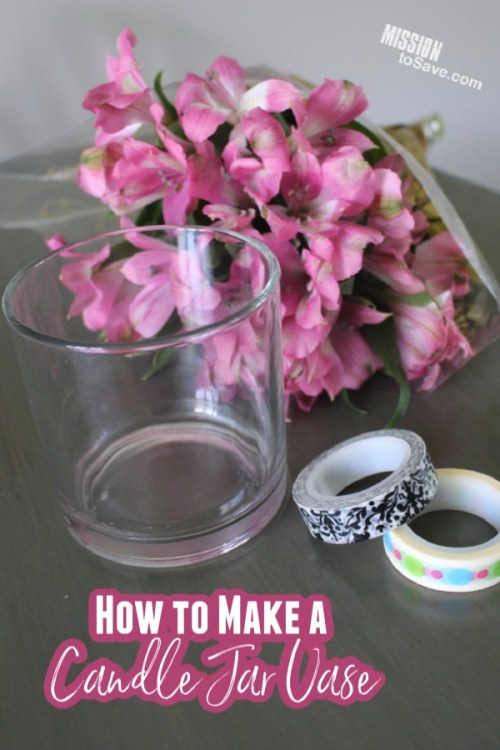repurposed candle jar and washi tape for flower vase