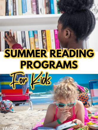 picture of 2 girls with books text summer reading programs for kids