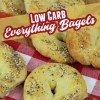 low carb everything bagels on a napkin with strawberries