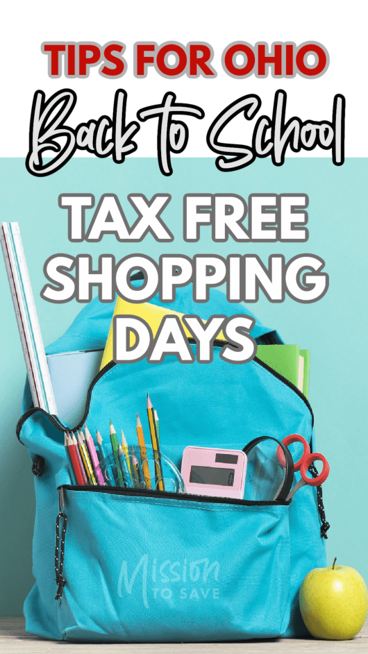 text tips for ohio back to school tax free shopping days over school backpack of supplies