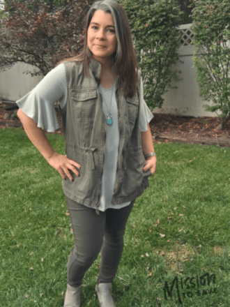 fall military vest outfit nadine west