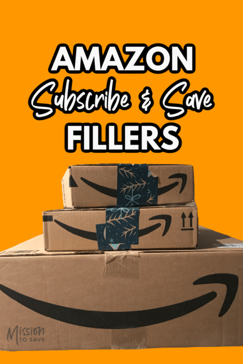amazon boxes with text amazon subscribe and save fillers