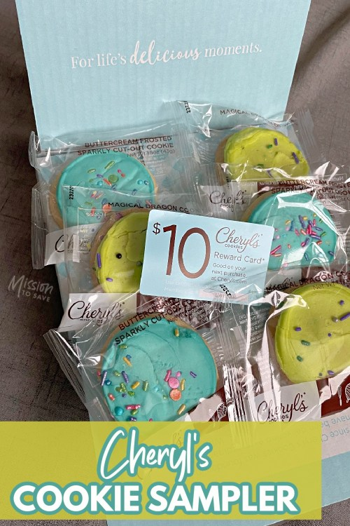 box of Cheryl's cookie sampler with free gift card