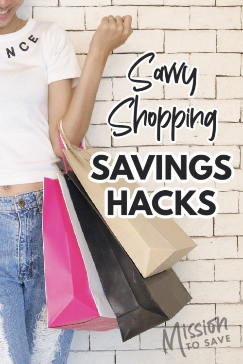 shopping bags with text savings hacks