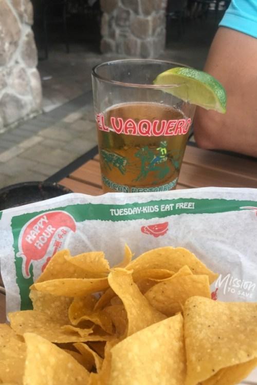 el vaquero chips text on basket kids eat free