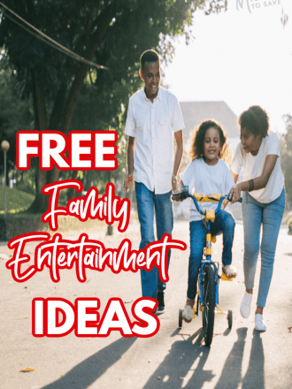 family riding bike with text free family entertainment ideas