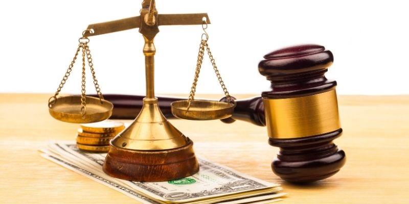 scales, gavel, and money