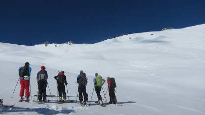 back up we go Treble Cone backcountry ski touring Mission WOW women
