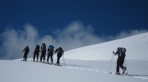 heading up Porters backcountry ski touring Mission WOW women