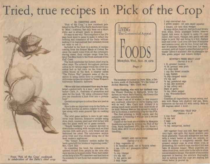 newspaper clipping with recipes from the pick of the crop cookbook