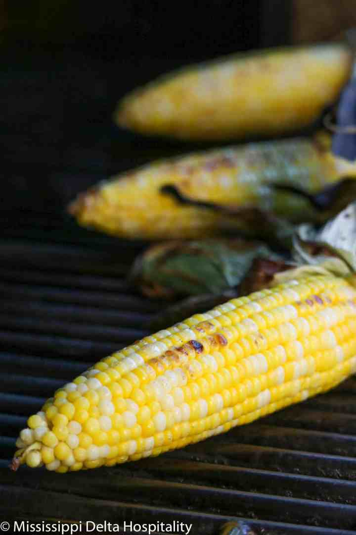 three ears of corn with grill marks