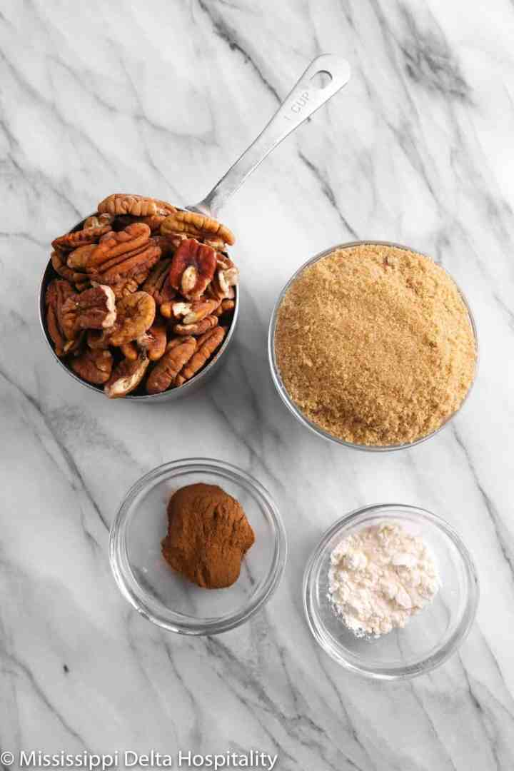 ingredients for streusel on a marble board