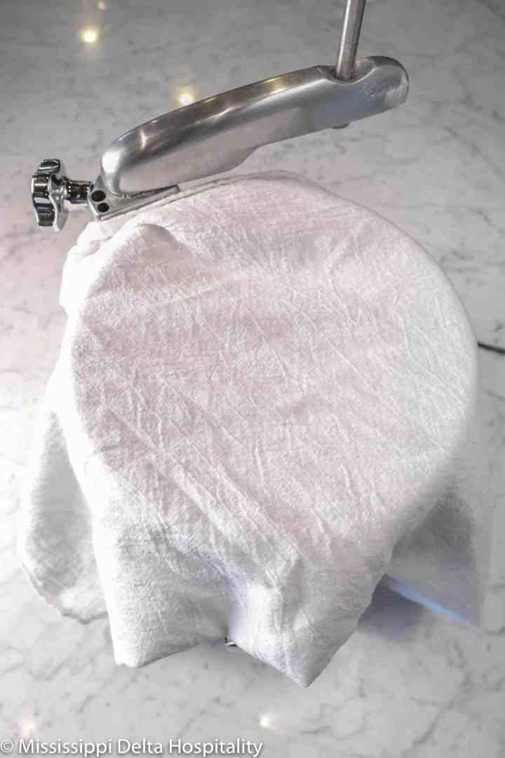 white towel covering mixer