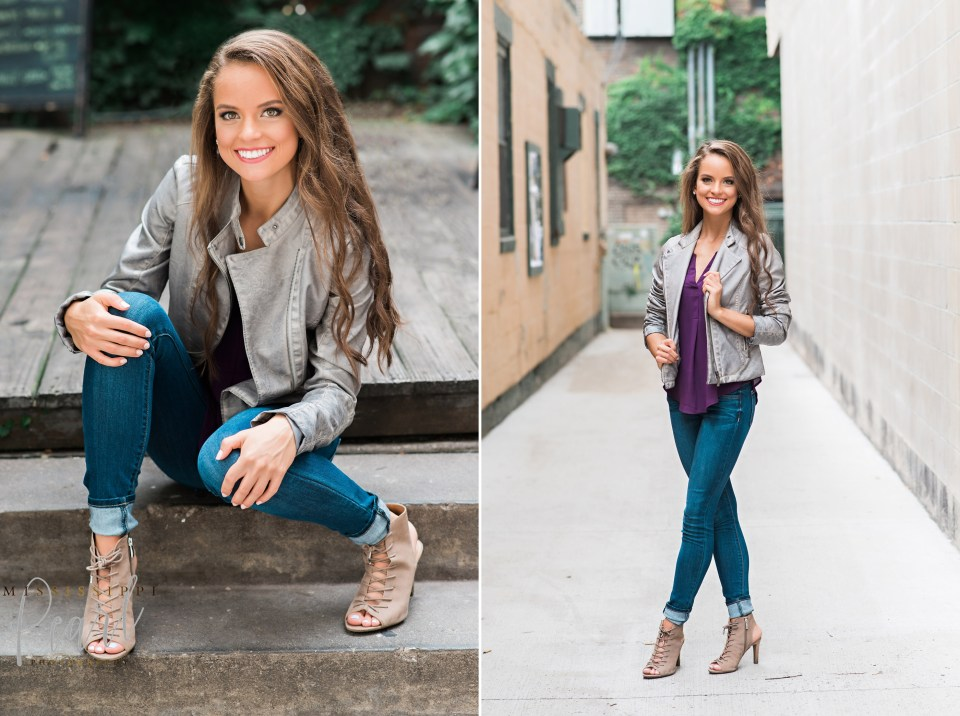 fun fashion senior pictures in downtown Iowa City with Mississippi Pearl Photography